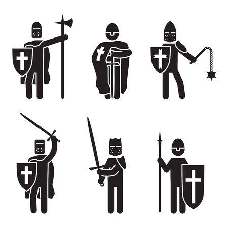 Knights icon set. Crusader knights set. Vector.