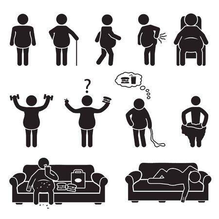 Conjunto de iconos de personas gordas y obesas. Vector. Ilustración de vector