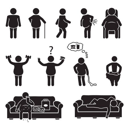 Fat and obese people icons set. Vector. Vettoriali