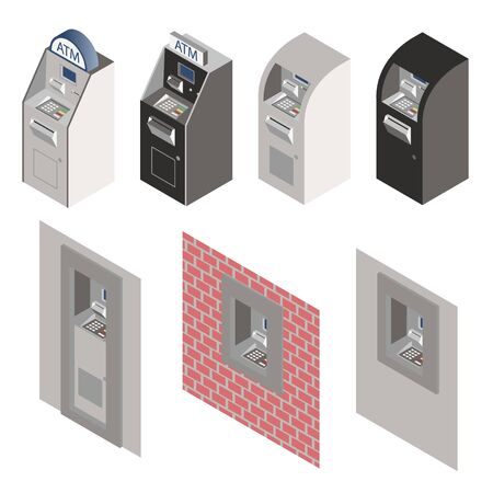 Isometric ATM machine set. Vector.