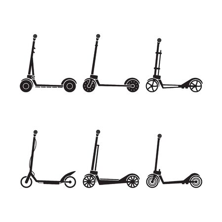 Electric scooter icon set. Vector.