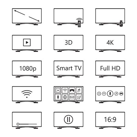 Smart TV icon set. Vector. Illusztráció