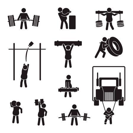 Strongman icon set. Vector. Illusztráció