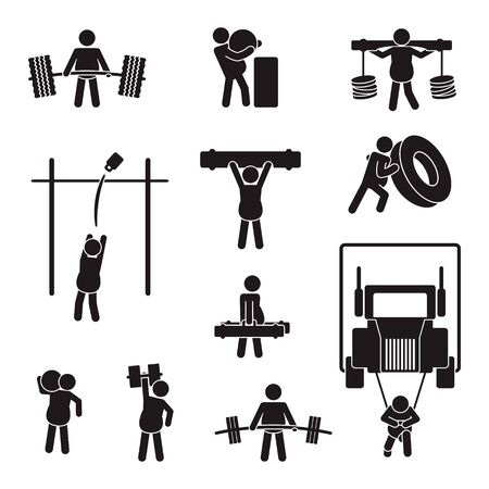 Strongman icon set. Vector. Ilustracja