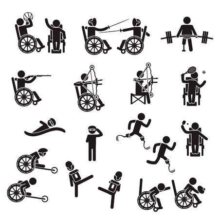 Disabled people sports icon set. Vector. 向量圖像