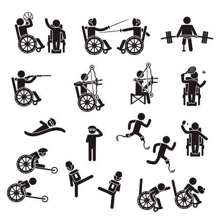 Jeu d'icônes de sport pour personnes handicapées. Vecteur. Vecteurs