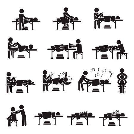 Insieme dell'icona di massaggio persone. Vettore.