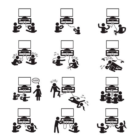 People gaming and playing games icon set. Vector.