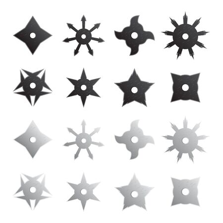 Ninja stars set. Vector.