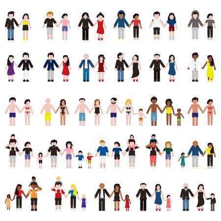 Young family and couples set. Vector.