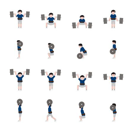 Weightlifting man flat icon set in color. Vector.