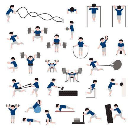 People exercising icon set. Vector.