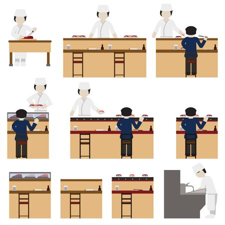 Sushi chef and restaurant set. Vector.