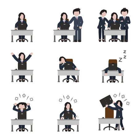 Computer and office work woman icon set. Vector.