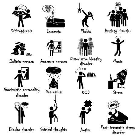 Ensemble d'icônes de troubles mentaux et de maladie. Vecteur. Vecteurs