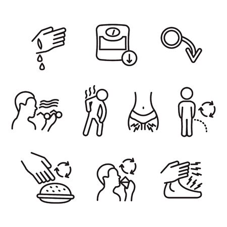 Diabetes symptoms thin line icon set. Vector.
