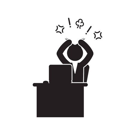Angry businessman pulling hair icon. Vector. Illustration
