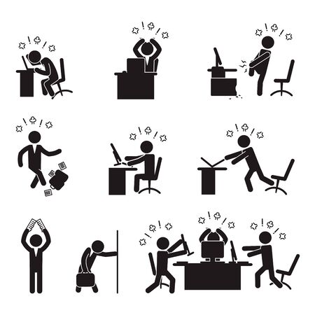 Angry businessman icon set. Vector. 向量圖像
