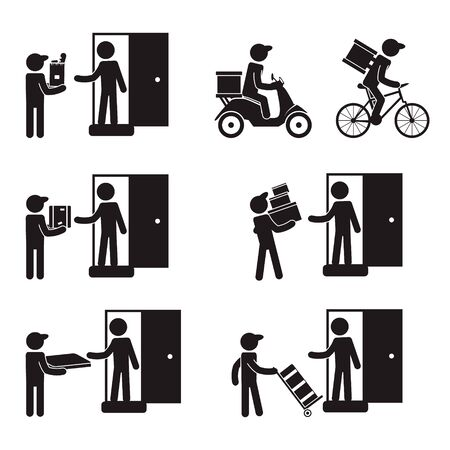 Delivery men icon set. Vector. Stock fotó - 147816750
