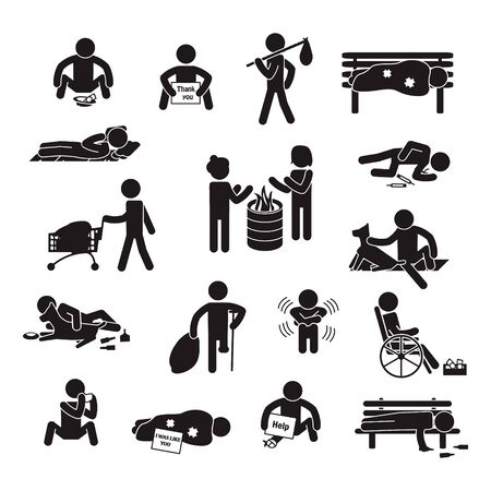 Homeless people icon set. Vector. 向量圖像