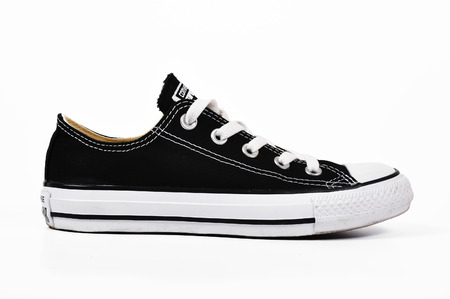 illustrative material: Chlumcany CZECH REPUBLIC MARCH 27 2015 Black low converse shoes Editorial