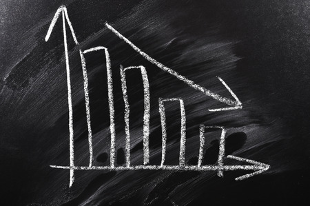 edu: Blackboard with declining chart close-up