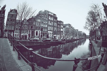 fisheye: Beautiful view of canals in Amsterdam, Netherlands. Taken with fish-eye lens.