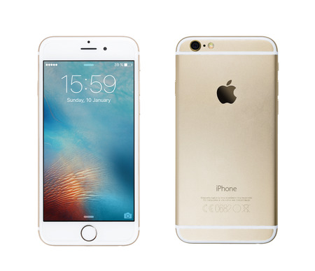 CHLUMCANY, CZECH REPUBLIC, JANUARY 10, 2016: Apple iPhone 6s isolated on white