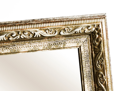 mirror frame: Frame of mirror close up isolated on a white background Stock Photo