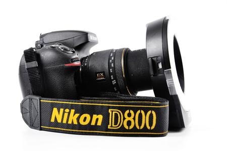50mm: CHLUMCANY, PLZEN, MAY 5, 2015: Nikon D800 with Sigma lens Metz mecablitz