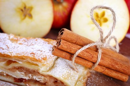 strudel: Apple Strudel with cinnamon and apples