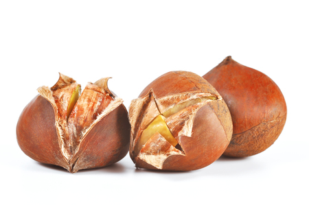 Chestnuts on white background Banco de Imagens - 80076209