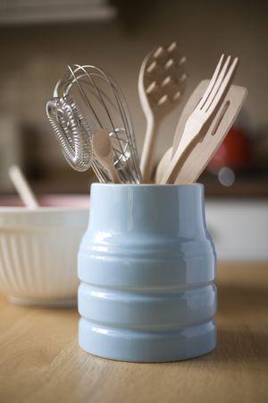 Kitchen Utensils in a vintage crockery pot Stock Photo - 8038104