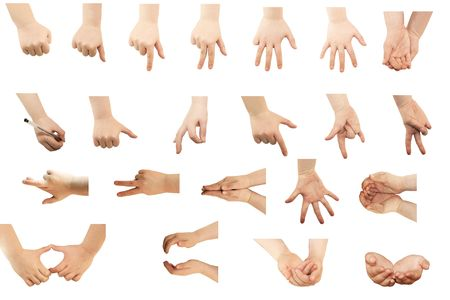 mani incrociate: Selezione delle mani su sfondo bianco Archivio Fotografico