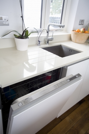 dishwasher: Built in dishwasher in modern kitchen