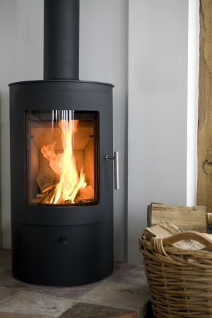 Modern Wood burning stove in modern interior