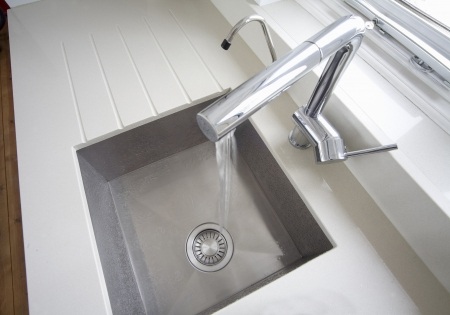 Modern inset square kitchen sink shot from above