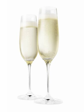 Studio shot of two champagne glasses isolated on a white background Stock Photo
