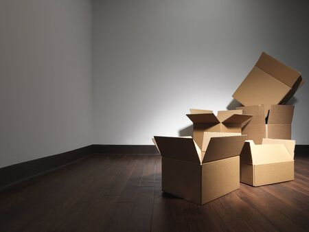 Shot of empty boxes in an empty room as if the occupants of a house were moving. This is similar to another submission but has darker walls in case the designer wants to add light text. Zdjęcie Seryjne