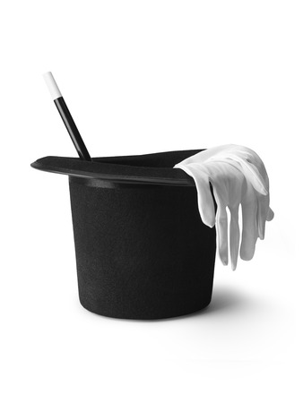 magic hat: shot of a magicians top hat, gloves and magic wand isolated on a pure white background