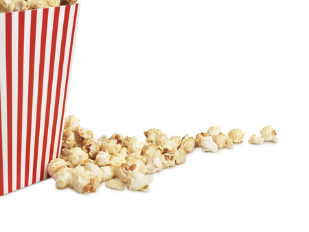 shot of cinema style popcorn in box on a white background