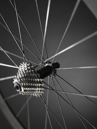 自転車の車輪の歯車や歯車リムとスポークを示すフィールドの浅い深さで示すのショットを閉じる。ショットでハチのスタジオでの撮影、写真で金 写真素材