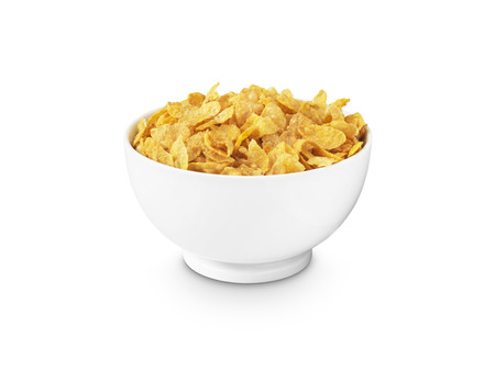 shot of corn flakes in a white breakfast bowl on a pure white background