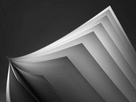 sencillez: Cierre de tiro de papel blanco se desplegaron sobre un fondo negro Foto de archivo