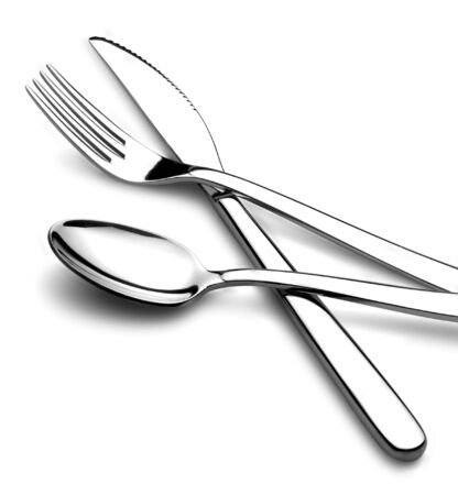 fork and knife: knife fork and spoon in crossed position on white background