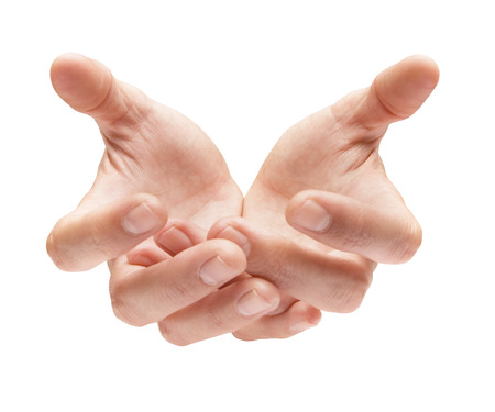cupped: close up shot of empty cupped hands Stock Photo