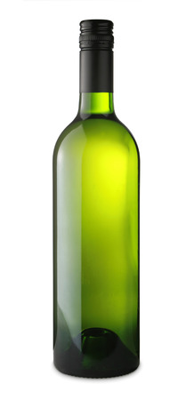 white wine bottle isolated on white with clipping path, no label