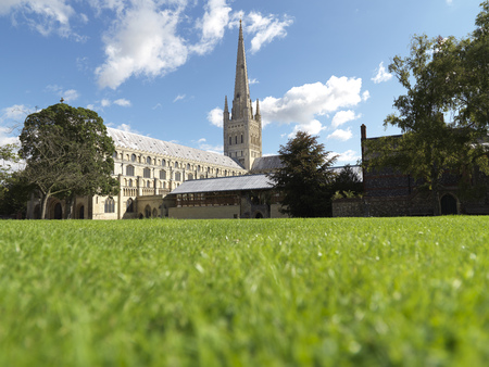 shot of cathedral on perfect english summers day with copy space in foreground
