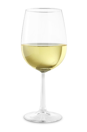 white wine in glass isolated on a white background