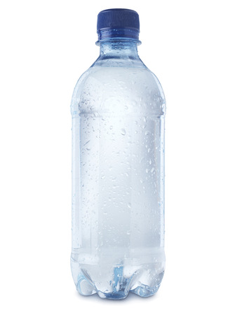 shot of mineral water bottle isolated on a white background with a clipping path, covered in condensation bubbles to show coldness.